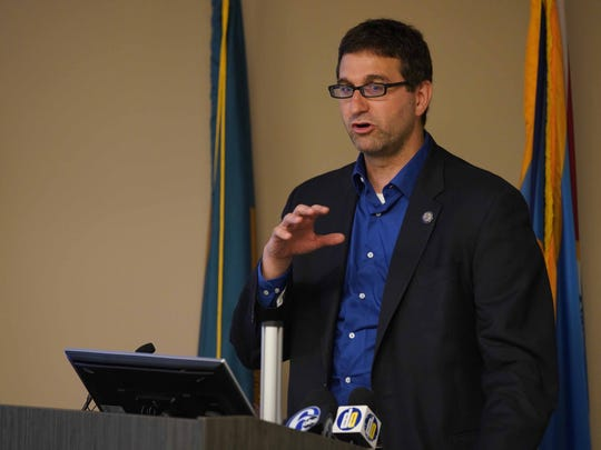 County Executive Matt Meyer talks to a group last month.