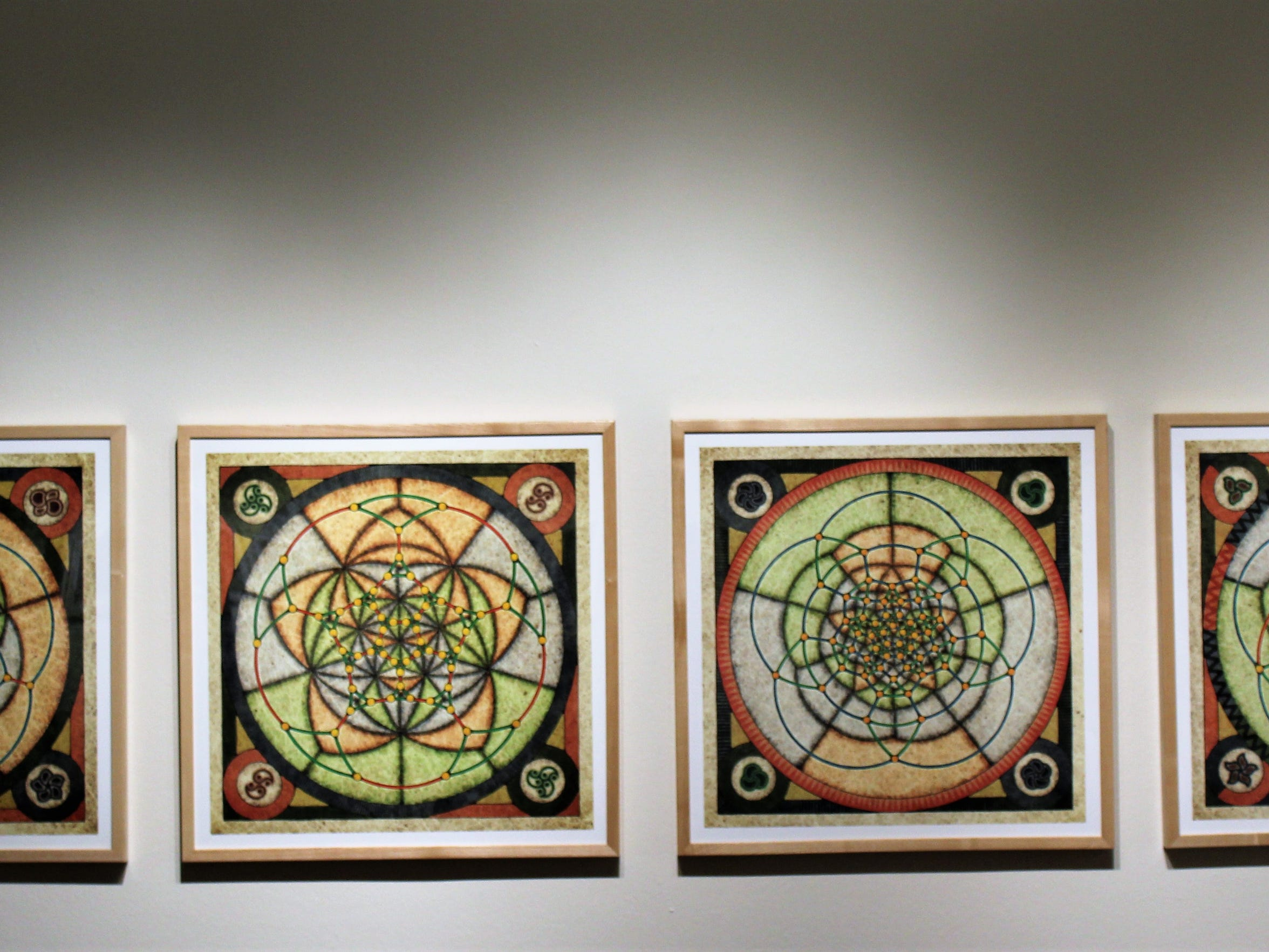"""A5, Variation I (II, III and IV,"" are works from 2011 and 2013 by Conan Chadbourne, on exhibit at The Grace Museum."