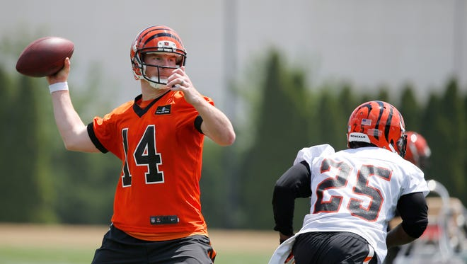 Andy Dalton and the Bengals will host the New York Giants during training camp in August.