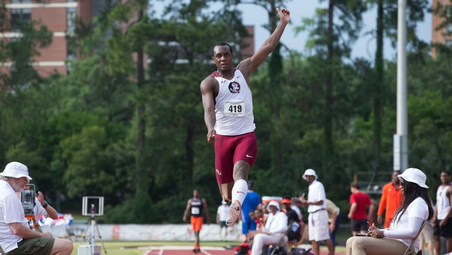 FSU senior Paul Madzivire leaps through the air on a long jump attempt. Madzivire has returned from a serious neck injury last October in time to compete at the NCAA East Preliminary meet in Jacksonville this week.