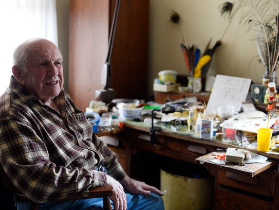 Ed Shenk at his workbench in Carlisle. Shenk, 89, is
