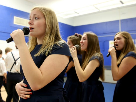 Camryn Ronnow, a senior alto, rehearses with the Something Dangerous a cappella choir at McNary High School in Keizer on Tuesday, Jan. 16, 2018. The group is competing in the International Championship of High School A Cappella Northwest Semifinal on Jan. 26 at the Elsinore Theatre.