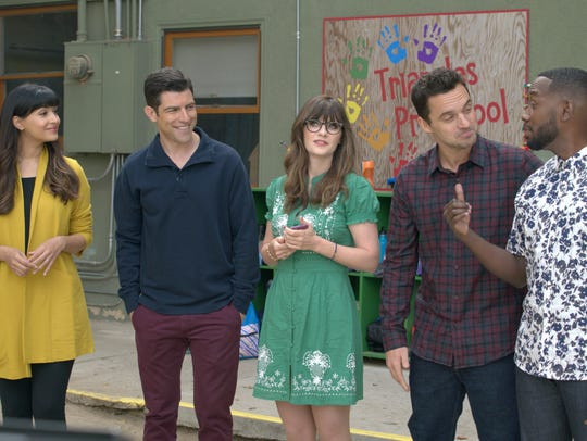 Hannah Simone, left, Max Greenfield, Zooey Deschanel,