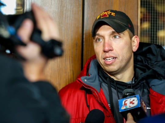 Iowa State head coach Matt Campbell talks to the media