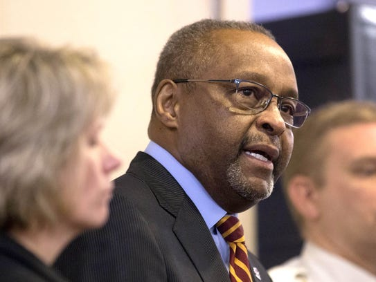 Central Michigan University President George Ross speaks