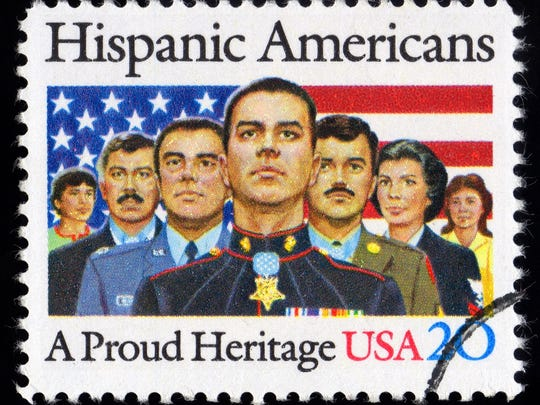 """USA postage stamp showing proud Hispanic American"