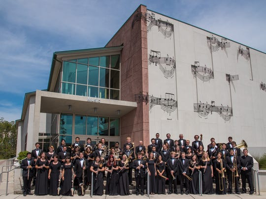 Florida Gulf Coast University released this picture of its Wind Orchestra before it performed at Carnegie Hall  in New York in 2015. Rod Chesnutt, the orchestra's former conductor, is standing on the bottom row to the far right.