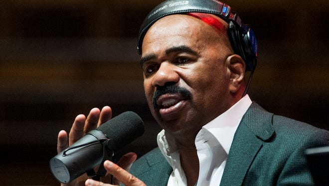 Steve Harvey does a live broadcast at the Alabama State Acadome in the ASU Campus Montgomery, Ala. on Wednesday November 23, 2016.