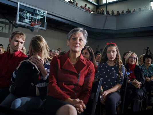 Brennan Leach, 15, right, and Allyson Schwartz, center, a former congresswoman and gubernatorial candidate, during a town hall with Hillary Clinton at the Haverford Community Recreation and Environmental Center in Haverford, Pa.