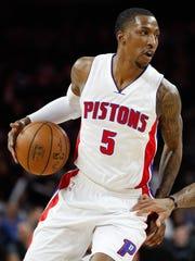 Detroit Pistons guard Kentavious Caldwell-Pope dribbles