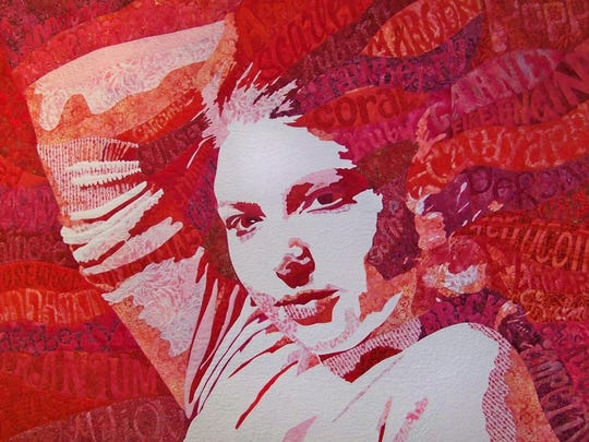 Fiber artist; Michelle Jackson, quilt depicts the significance of red in fashion.