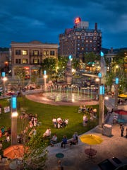 Rapid City's town square in South Dakota, which is
