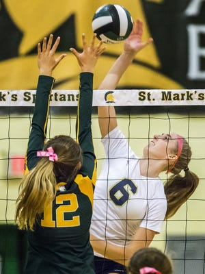 Delaware Military Academy's Victoria Taylor (6), seen here against St. Mark's, had 15 kills, five aces and two blocks against Wilmington Charter in the Seahawks' 3-1 Tuesday.
