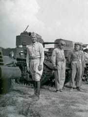 Jake Devers at Fort Knox before line of tanks - 1942.