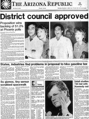 1982 Front page of The Arizona Republic's elections coverage