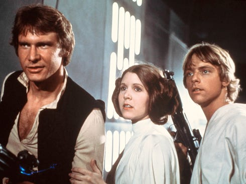 Harrison Ford, Carrie Fisher and Mark Hamill in a scene from 'Star Wars.'