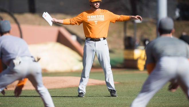 University of Tennessee baseball head coach Tony Vitello watches players warm up during media availability in Lindsey Nelson Stadium on Friday, Jan. 26, 2018.