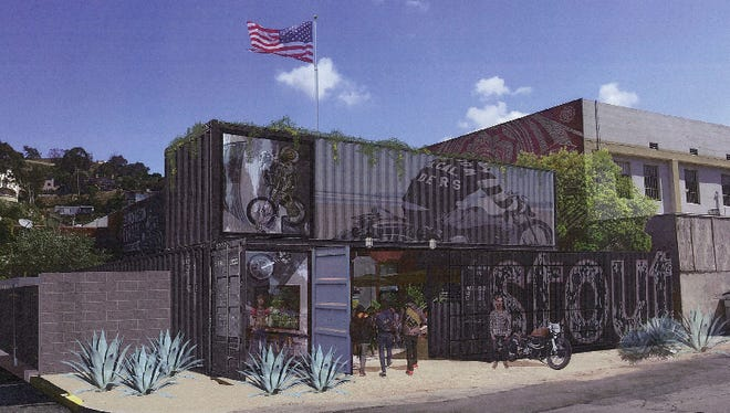 An architectural rendering for the proposed Stout Burgers and Beers restaurant in downtown Ventura depicts the use of shipping containers to create an entrance from the parking lot at Palm and Santa Clara streets.