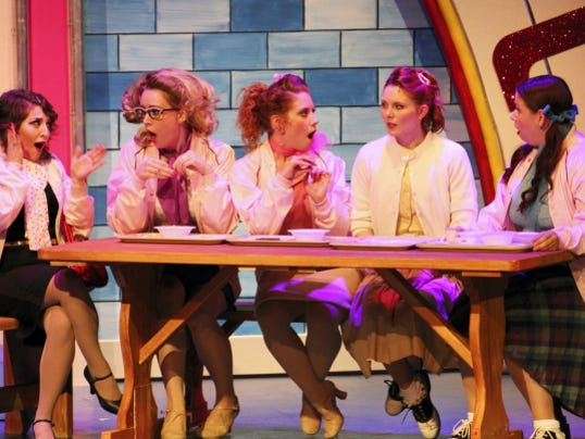From left, Hannah Zazzaro, Kelsey Thompson, LilyAnn Carlson, Megan Campanile, Taylor Whidden perform in Totem Pole Playhouse's production of Grease, which opened Friday and runs through Aug. 16.