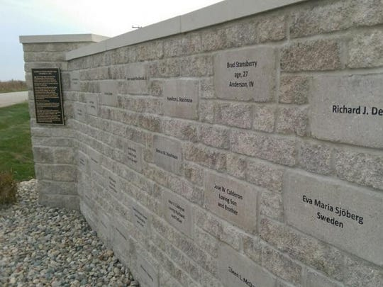 The names of the 68 victims of American Eagle Flight 4184 are etched into the memorial wall at the site of the crash in 1994, near Roselawn, Ind. The memorial will be dedicated on Oct. 31, 2014, on the 20th anniversary of the crash.