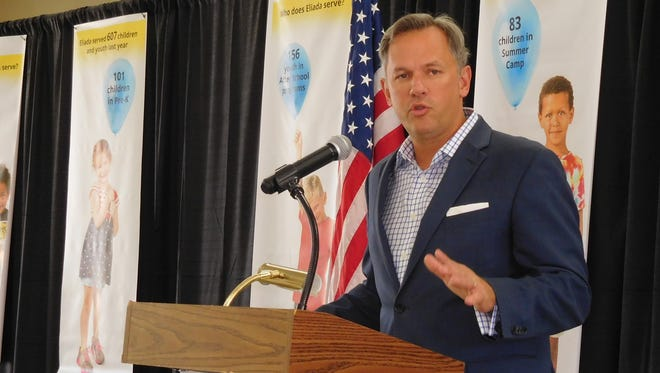 Lt. Gov. Dan Forest speaks to the Council of Independent Business Owners at Eliada Homes Tuesday.