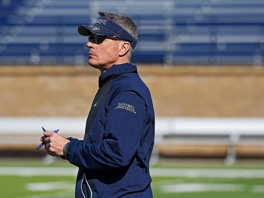 Augustana coach Jerry Olszewski looks on during a spring football practice Friday, April 7, 2017, at Kirkeby–Over Stadium on the Augustana University campus.
