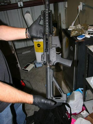 Vice detectives shut down a suspected illegal gambling operation in downtown Stockton on Tuesday morning, where they seized an assault rifle, crystal methamphetamine, marijuana, evidence related to illegal gambling and more than $1,000 and made two arrests.