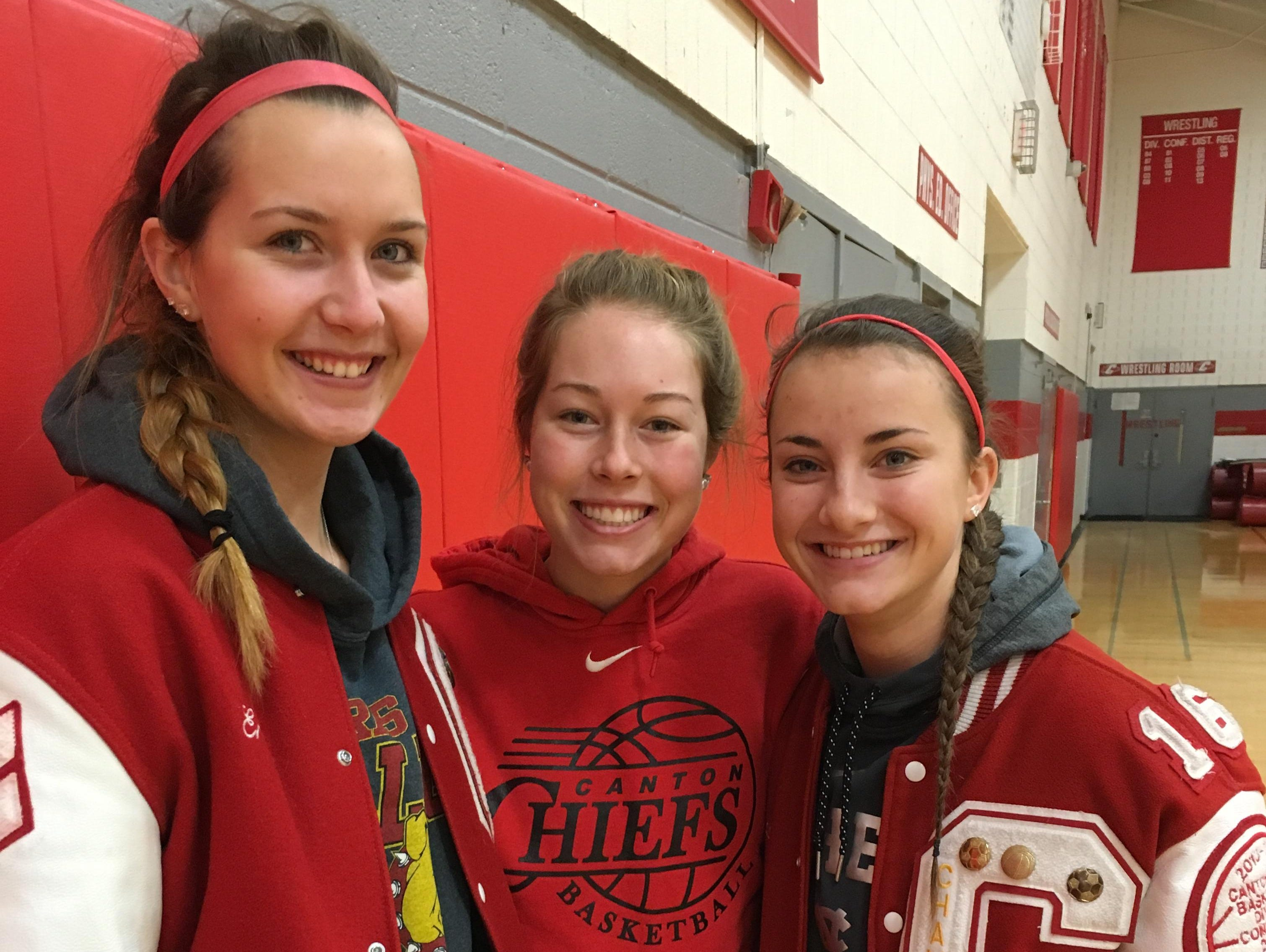 Leading the Canton Chiefs on and off the basketball court will be captains (from left) Erin Hult, Natalie Winters and Madison Archibald.