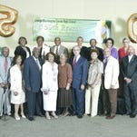 Former teachers, coaches and their family representatives were invited to enjoy the golden reunion festivities hosted by Carver's Class of 1965.  Front, from left: Barbara and Herman Harris, William Gary, Mary Fulgham, Hattie and William Minter, Lurlene and John Feagin, Edward Wood, II; Back from left, Maggie Johnson, Dorothy and Mose Carter, Valery Wood, Patricia and Stratford Singleton; Mary Hayes.