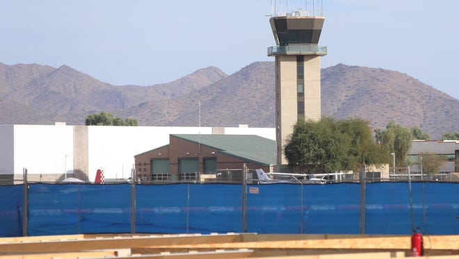 The traffic control tower overlooking construction at the Scottsdale Airport on Nov. 3, 2017. A $27 million airport renovation is underway.