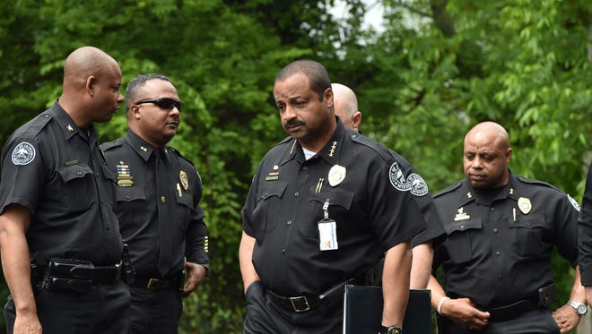 In this April 2017 file photo, Jackson Police Chief Lee Vance and fellow officers respond to a double shooting at the corner of Lincoln and Jones in west Jackson. Vance says his department is 50 officers short of where it needs to be.