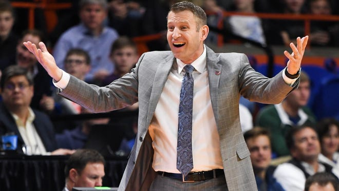 Buffalo Bulls head coach Nate Oats reacts in the second half against the Arizona Wildcats during the first round of the 2018 NCAA Tournament at Taco Bell Arena in Boise, Idaho, on March 15, 2018.