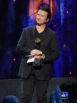 Steve Perry of Journey was inducted into the Rock & Roll Hall of Fame with the band on April 7, 2017, in New York.