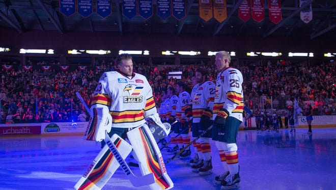 The Colorado Eagles line up before taking on the Grizzlies during its season opener against Utah at the Budweiser Events Center on Oct. 13. Proposed facility upgrades are outlined in a master plan for The Ranch, Larimer County's fairgrounds and events complex.