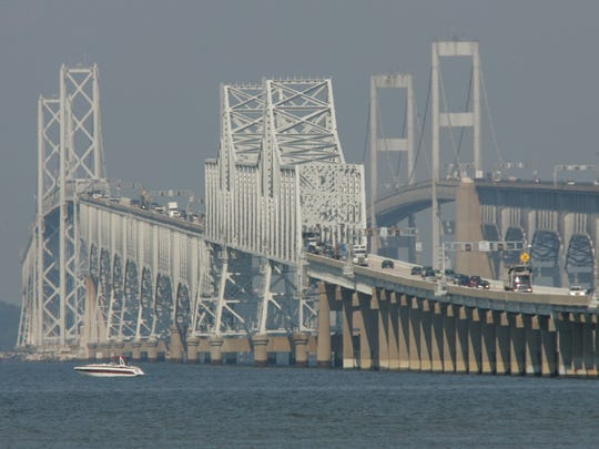 The Chesapeake Bay Bridge in all its grandeur.  The first eastbound span opened in 1952; the westbound span in 1973.