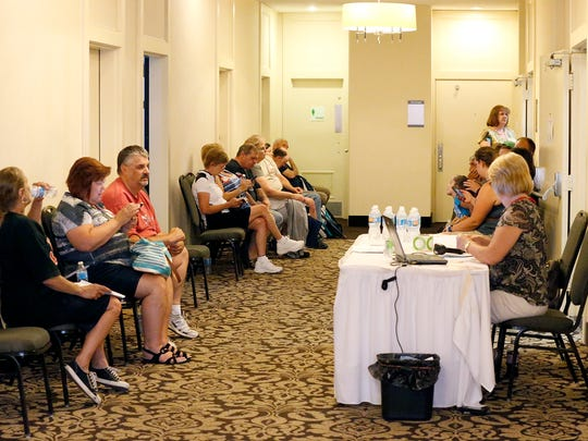 Blood donors fill the waiting room at the Holiday Inn