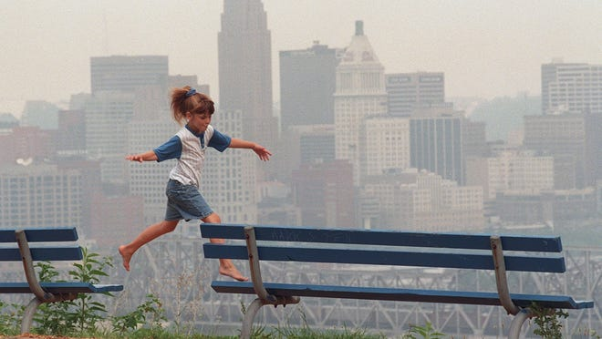 This photo from 1996 show the haze that develops when the Cincinnati region is under an ozone alert. The region ranked 15th worst among 277 metro areas for ozone or smog pollution in 2013, a new report shows.
