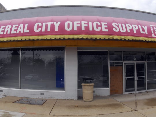 The old Cereal City Office Supply store at 50. W. Michigan Ave.