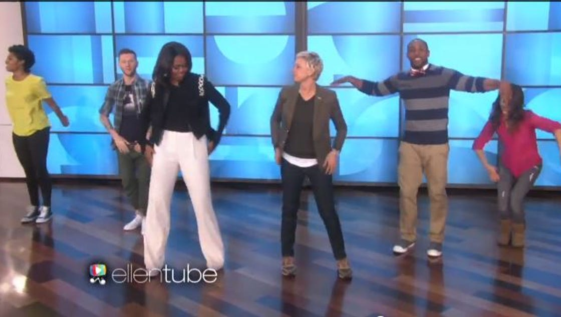 First lady shows moves on Ellen show