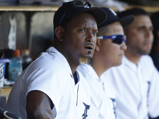 The Detroit Tigers' Jose Valverde in the dugout after