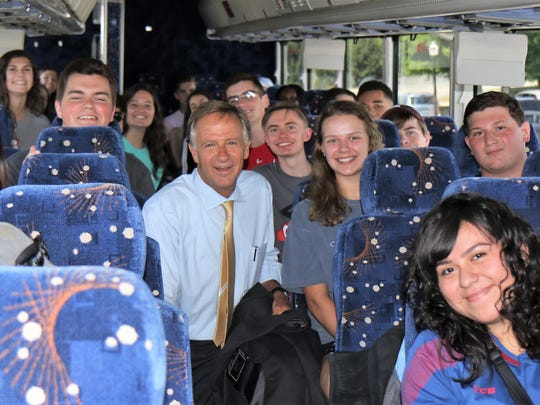 Gov. Bill Haslam congratulates high school juniors from across West Tennessee, wishing them the best as they meet at Casey Jones Village on June 7, 2018, on their way to Washington, D.C., for the 2018 Washington Youth Tour.