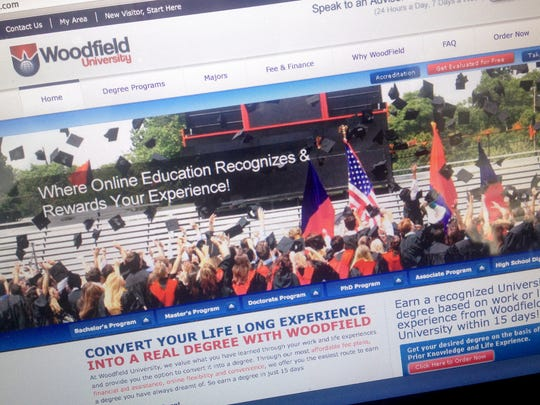 """The Woodfield University website promises a """"recognized University degree based on work experience"""" within 15 days."""