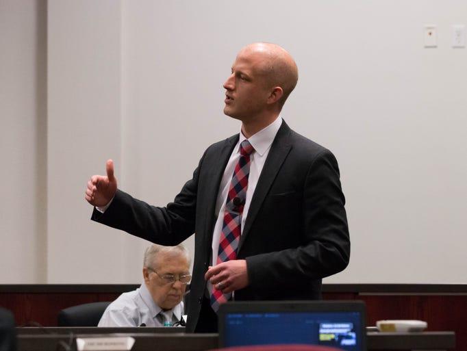 Coconino Deputy County Attorney Ammon Barker makes
