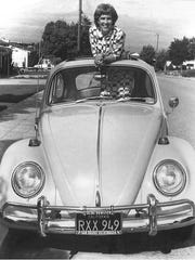 """Frances Mathews, """"Grandma Oops,"""" during the late 1960s, on Voelker Drive in front of her home in San Mateo."""