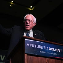 Democratic candidate for President Bernie Sanders speaks at the Reno-Sparks Convention Center in Reno on Feb. 13, 2016.