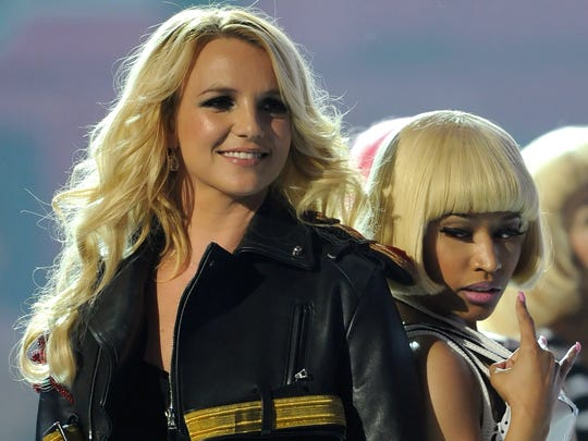 LAS VEGAS, NV - MAY 22:  Singers Britney Spears (L) and Nicki Minaj perform during the 2011 Billboard Music Awards at the MGM Grand Garden Arena May 22, 2011 in Las Vegas, Nevada.  (Photo by Ethan Miller/Getty Images for ABC)