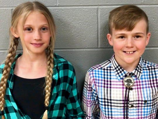 Fifth graders Ashlyn Jarrett and Kale Baumann won the