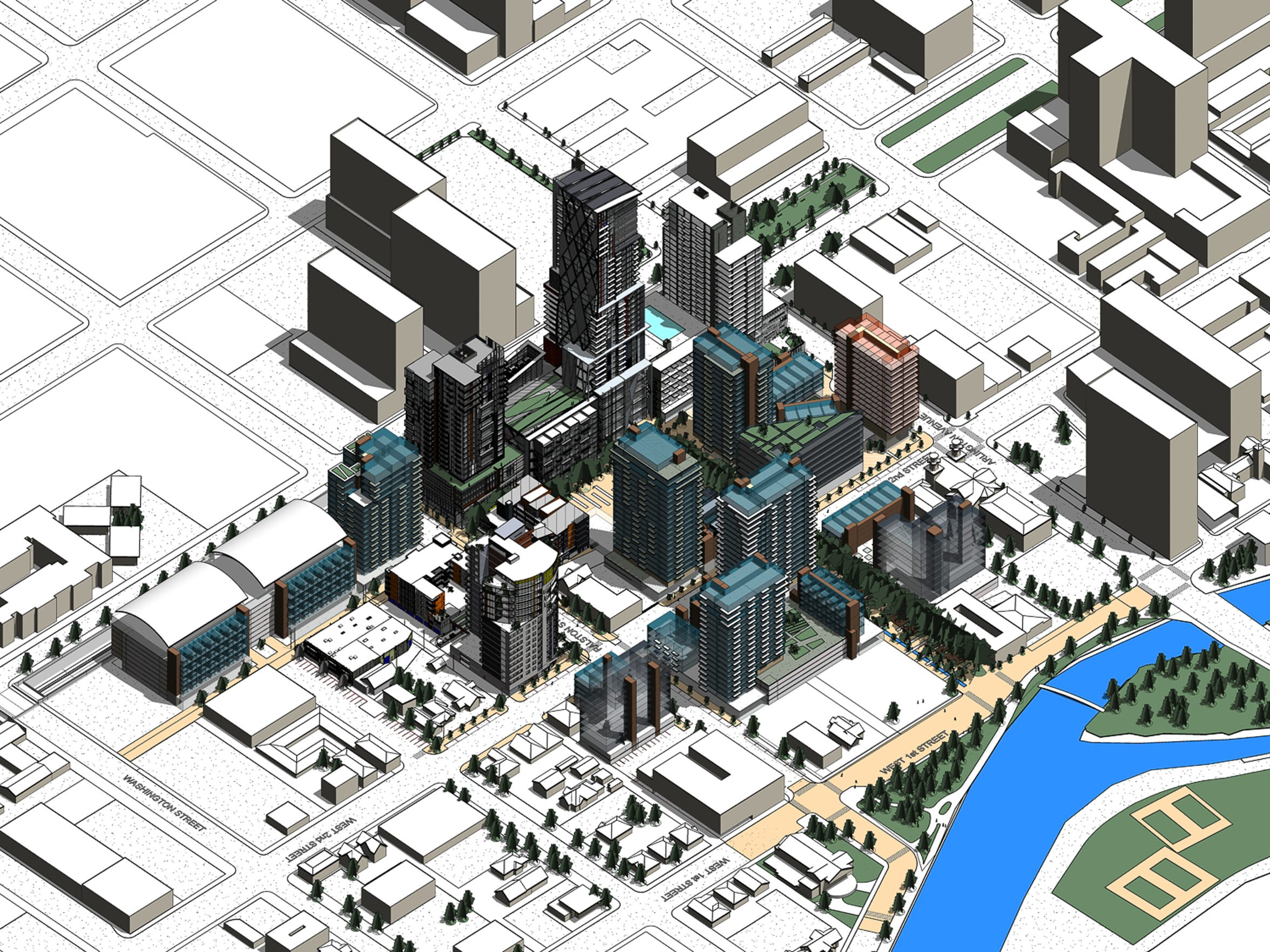 Renderings of the proposed West 2nd District from at final completion showing multiple buildings in west downtown. Facing northeast. Click to enlarge.
