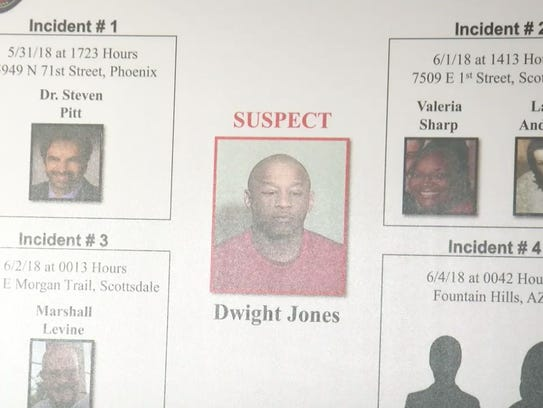 A placard showing shooting suspect Dwight Jones is