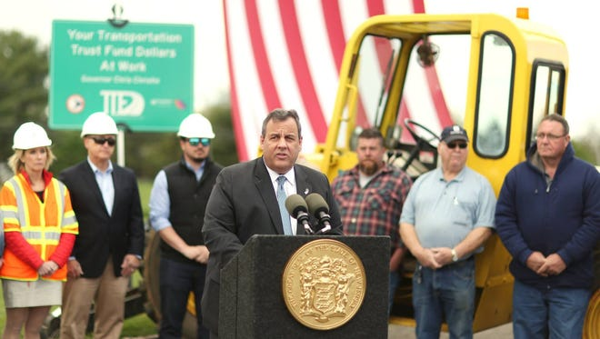 Gov. Chris Christie extolling the benefits of the state's increased gas tax at a press conference in Readington.